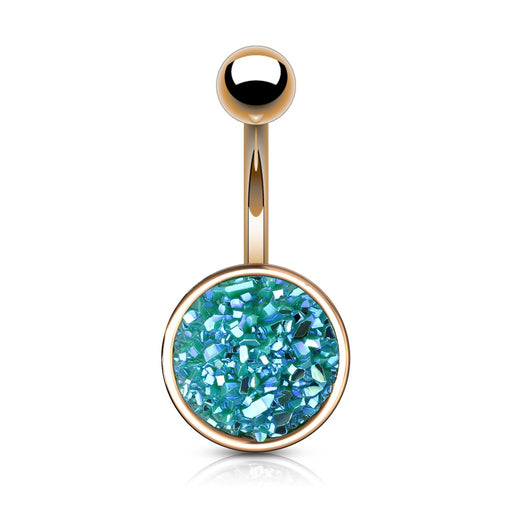 Rose Gold Druzy Stone Green Belly Ring