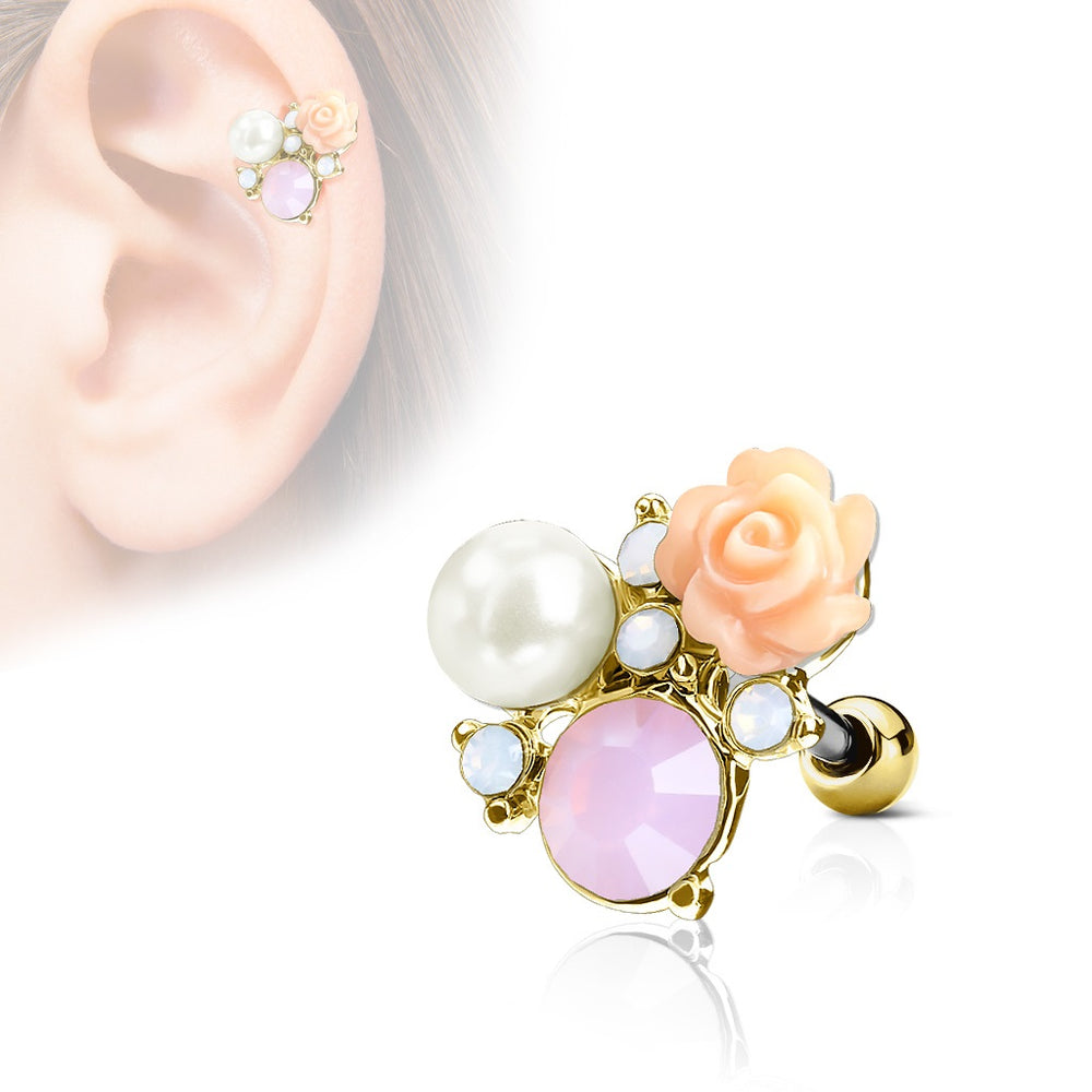 Flower and Opalite with Pearl Cartilage Ring - Gold Plated