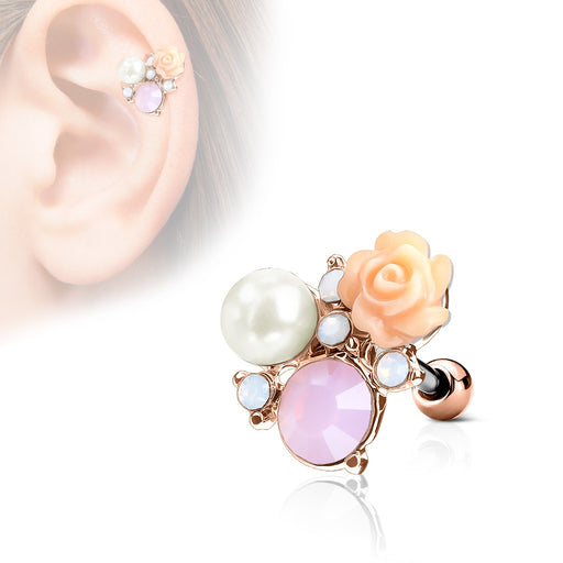 Flower and Opalite with Pearl Cartilage Ring - Rose Gold