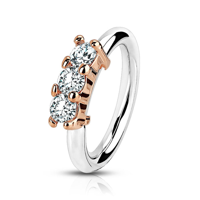 Rose Gold Bendable Hoop Ring with CZs