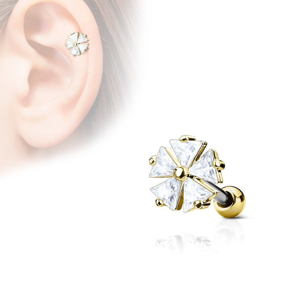 Gold Flower CZ Cartilage Ring