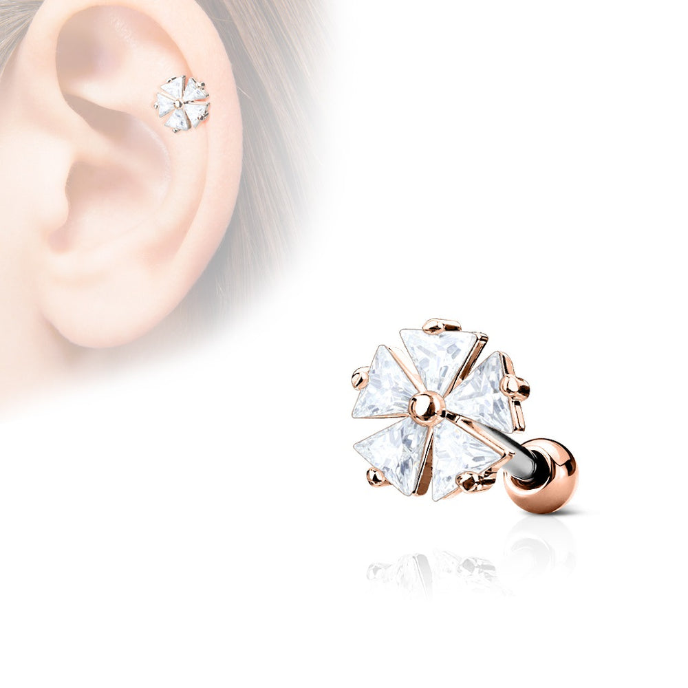 Rose Gold Flower CZ Cartilage Ring