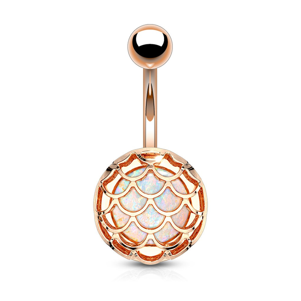 Rose Gold Opal Glitter Fish Scale Belly Ring