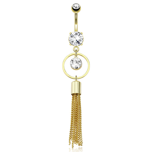 CZ Encircled Multi Chain Belly Ring