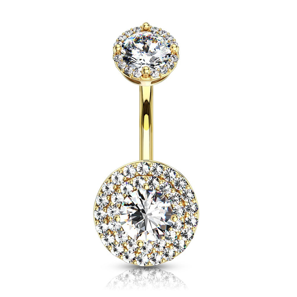 Internally Threaded Double Tier Belly Ring-Gold Plated