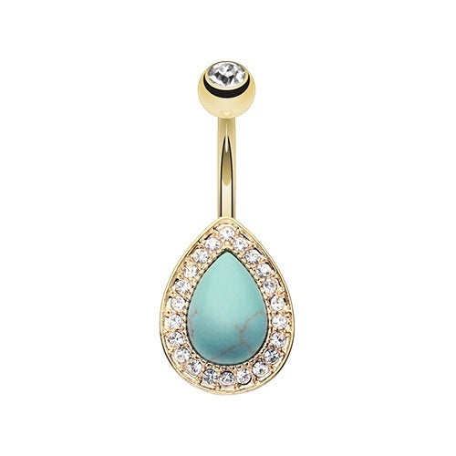 Golden Turquoise Multi Gem Belly Ring