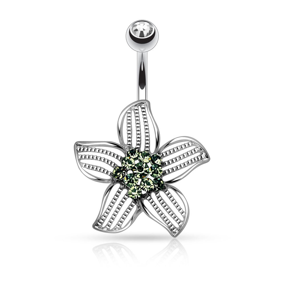 Petal Paved Green Center Belly Ring