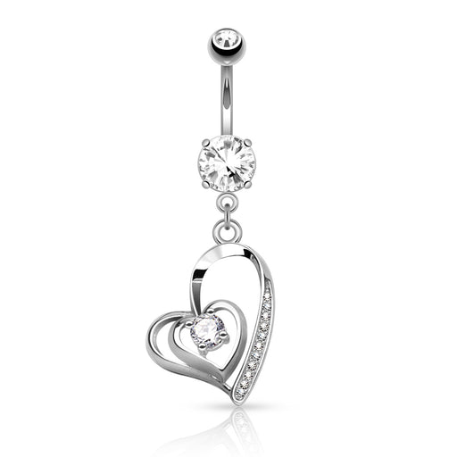Double Heart Clear Belly Ring