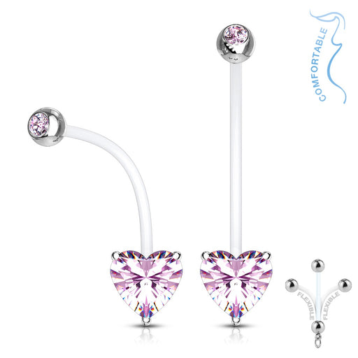 Pink Prong Set Heart Pregnancy Belly Ring