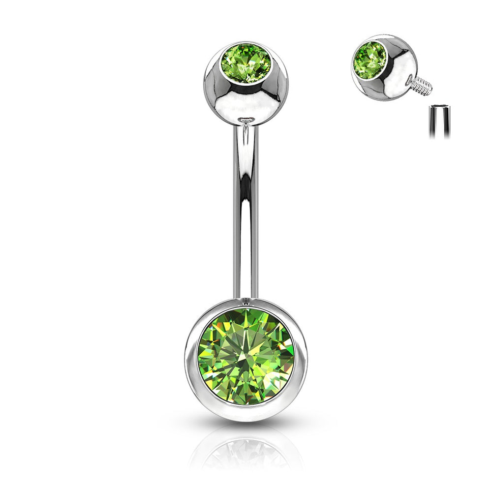 Internally Threaded Belly Ring - Green