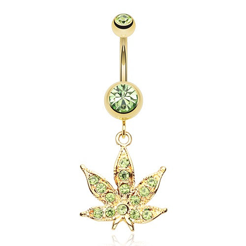 Gold Plated Lt Green Weed Belly Ring