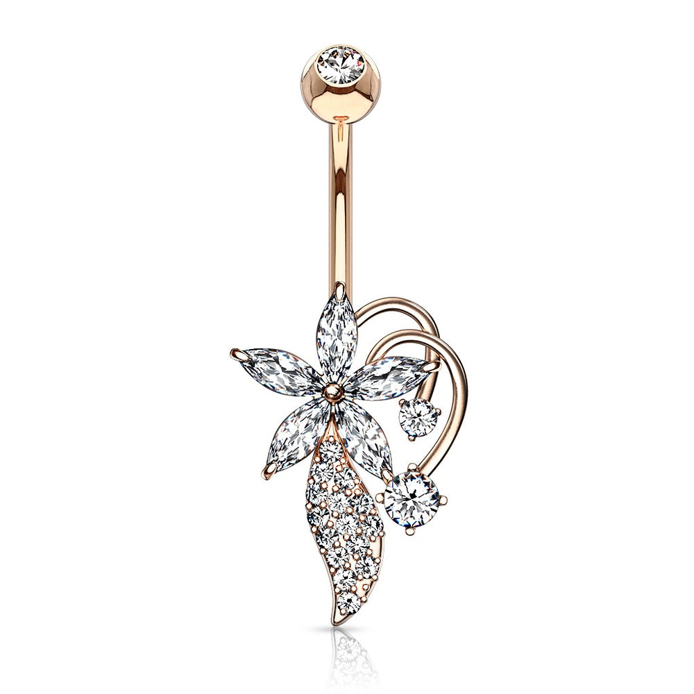 Marquise CZ Flower Bouquet Belly Ring Rose Gold