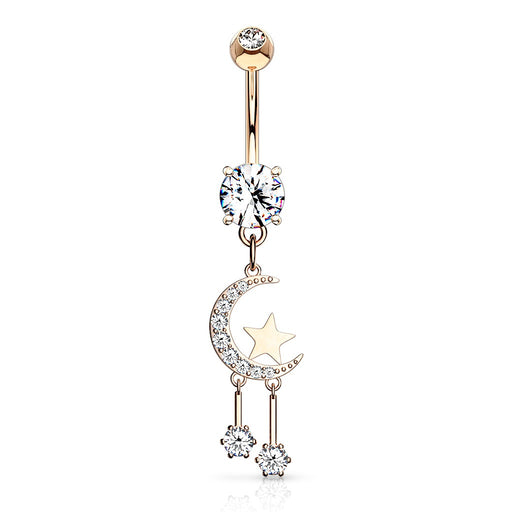 Dangling Moon and Star Belly Ring Rose Gold