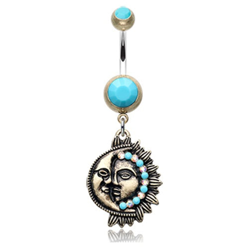 Turquoise Sun and Moon Belly Ring