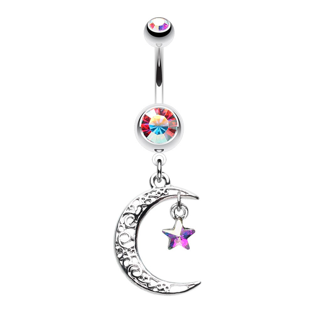 Moon and Star Belly Ring
