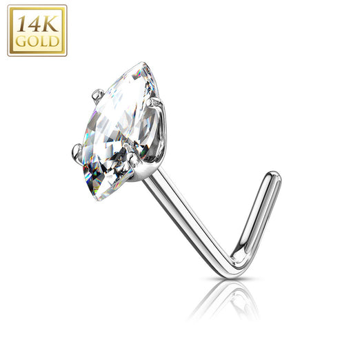 14KT Gold Marquise CZ Nose Ring