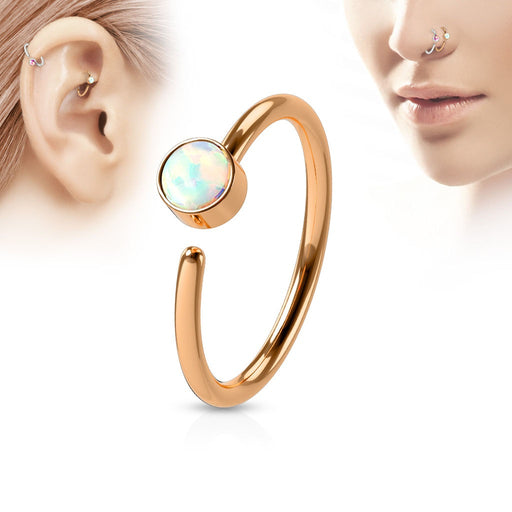Rose Gold Opal Hoop Ring