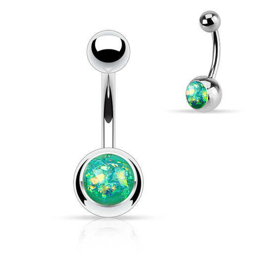 Green Opal Glitter Belly Ring