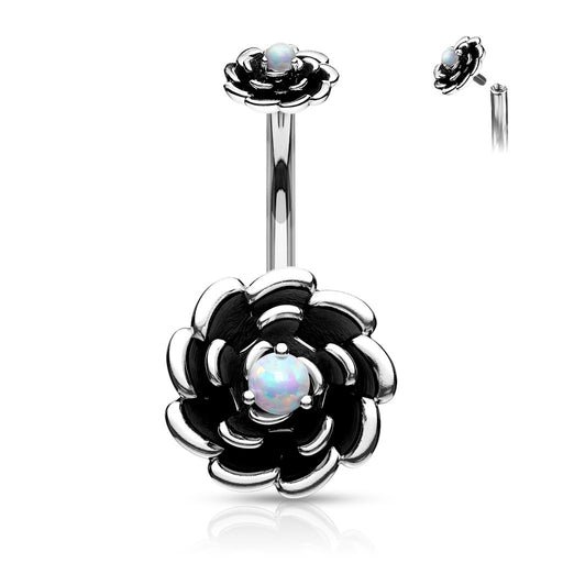 Internally Threaded Opal Center Rose Belly Ring