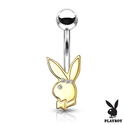 Playboy Belly Ring with Clear Gems Gold Plated