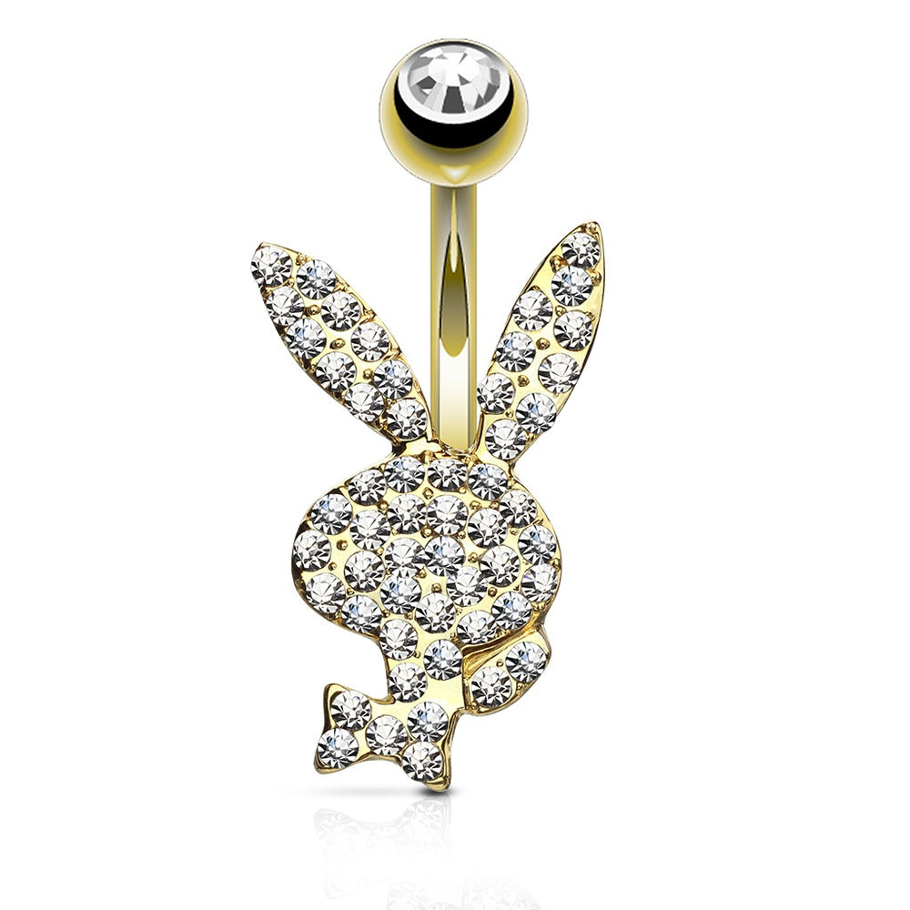 Clear Paved Golden Playboy Belly Ring