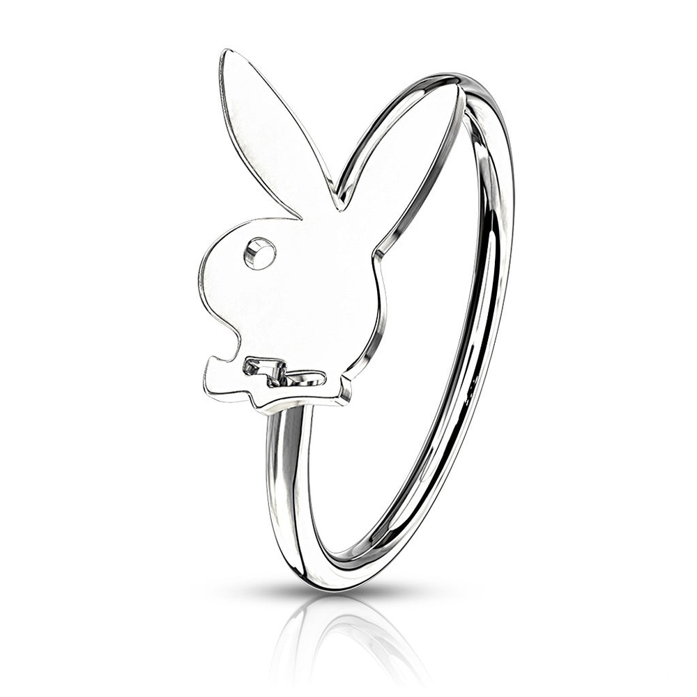 Playboy Bendable Hoop Nose Ring Silver