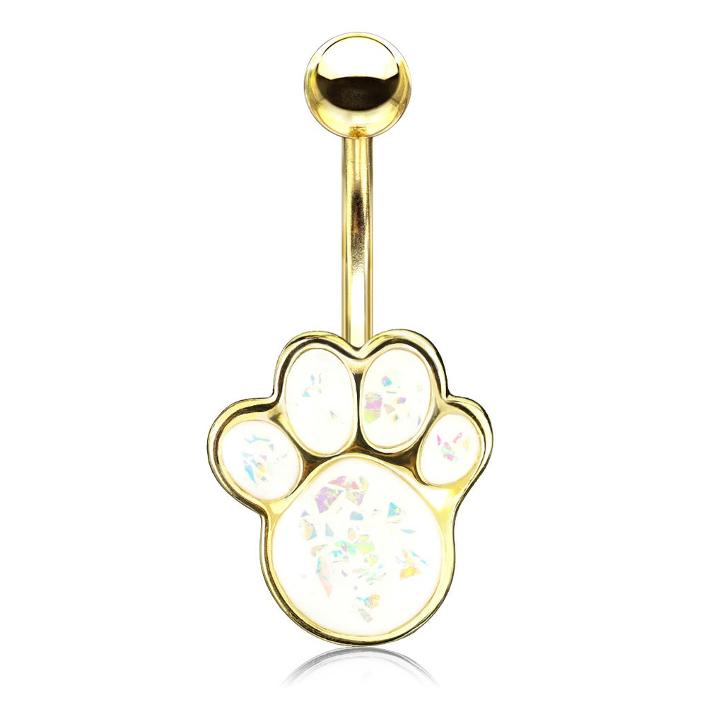Opal Glitter Puppy Paw - Golden