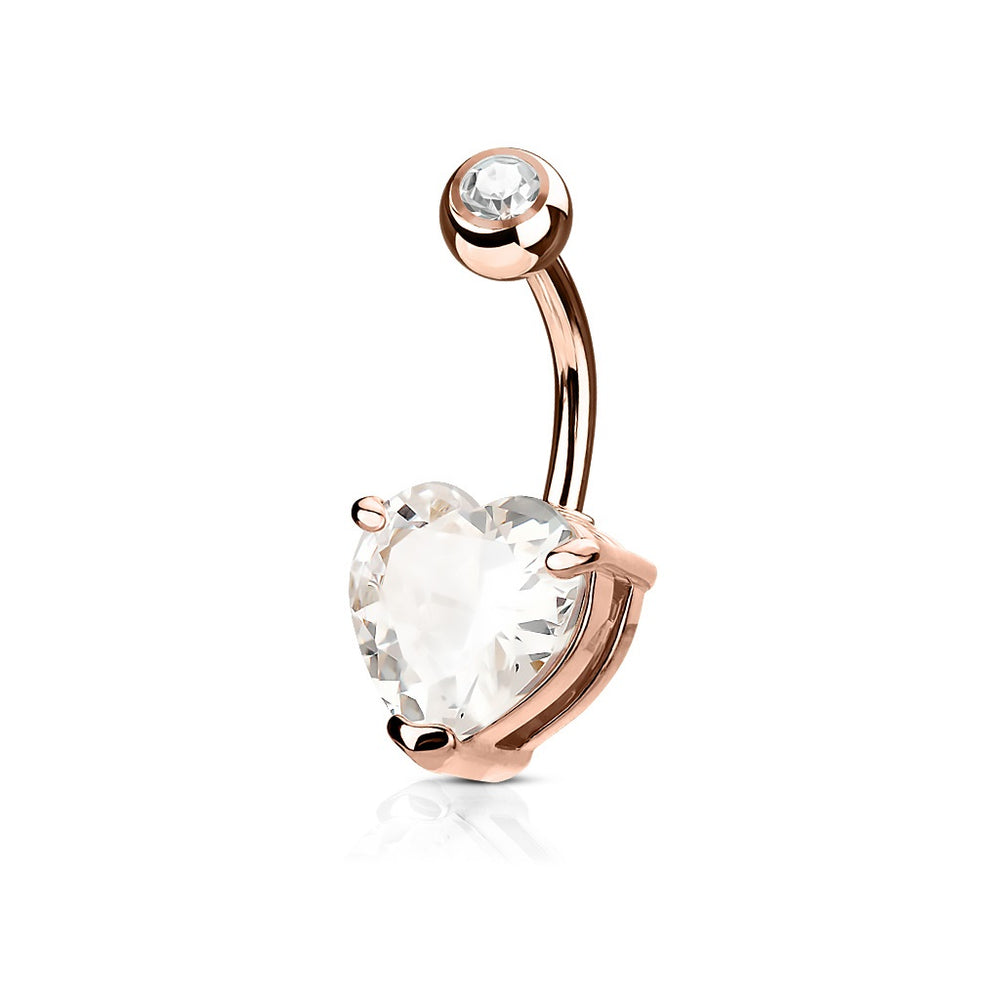 Rose Gold CZ Heart Belly Ring