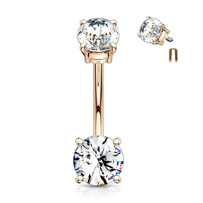 Internally Threaded Double Prong Belly Ring - Rose Gold