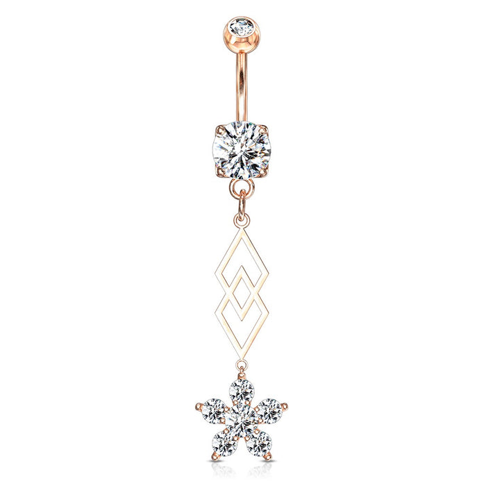 Flower and Diamonds Belly Ring