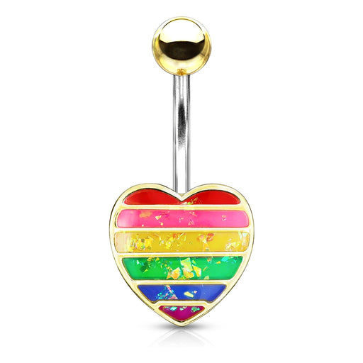 Rainbow Opal Glitter Filled Heart Belly Ring Golden