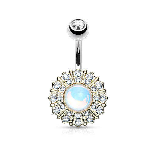 Reflecting Stone Flower GP Belly Ring