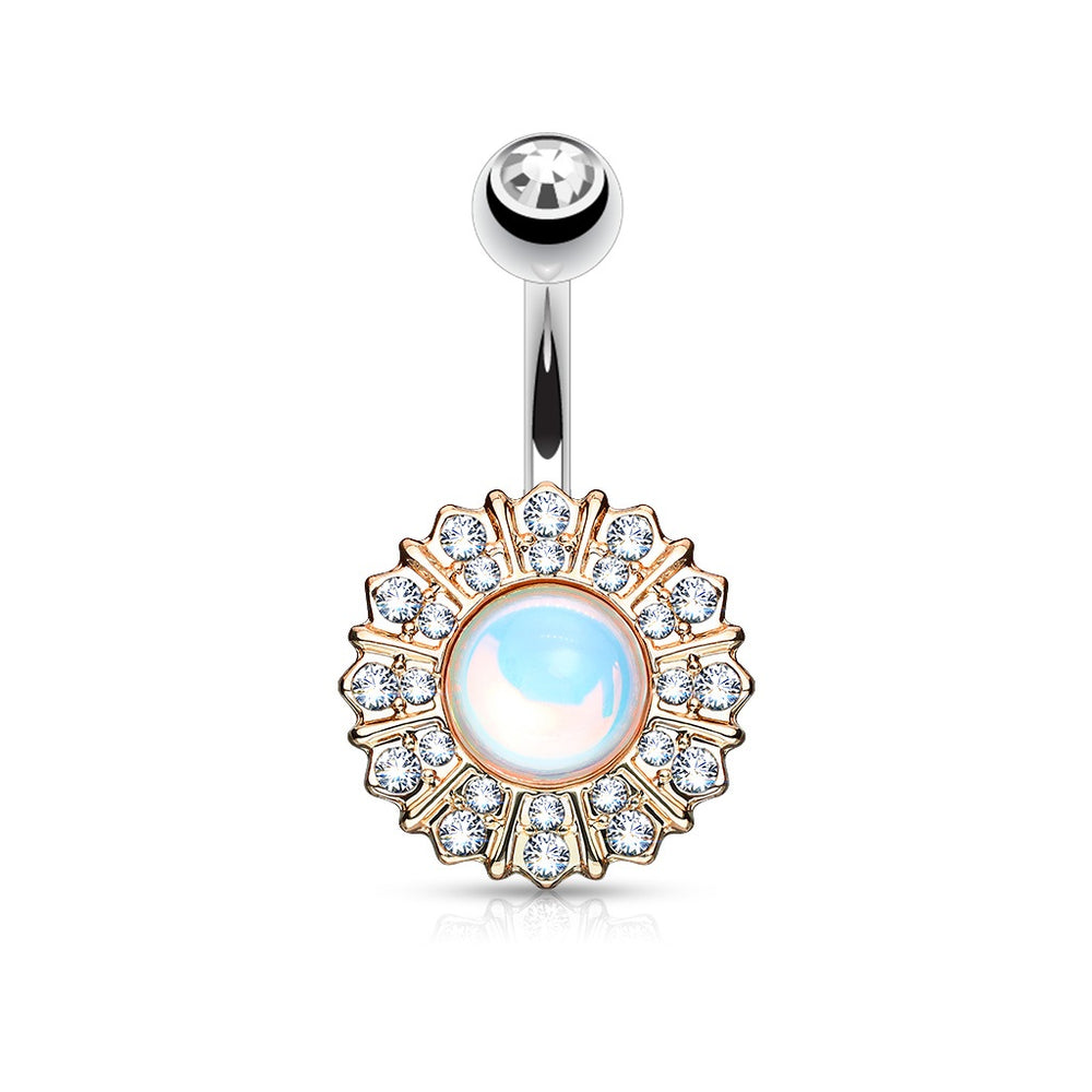 Reflecting Stone Flower RG Belly Ring