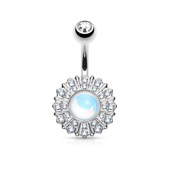 Reflecting Stone Flower Belly Ring