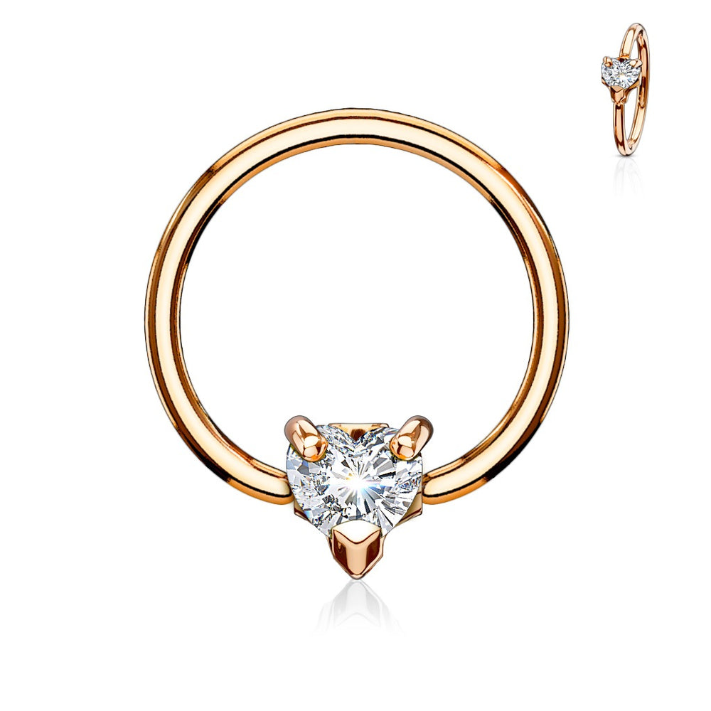 Rose Gold Captive Bead Ring with Crystal Heart