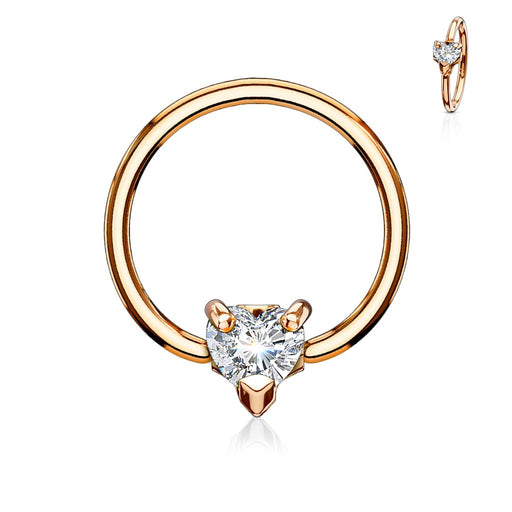 316L Surgical Steel Rose Gold Captive Bead Ring with Clear Gem Set Ball