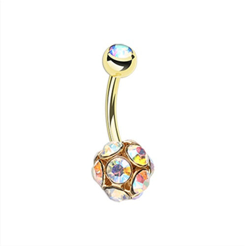 Golden Sparkle Multi Gem Belly Ring