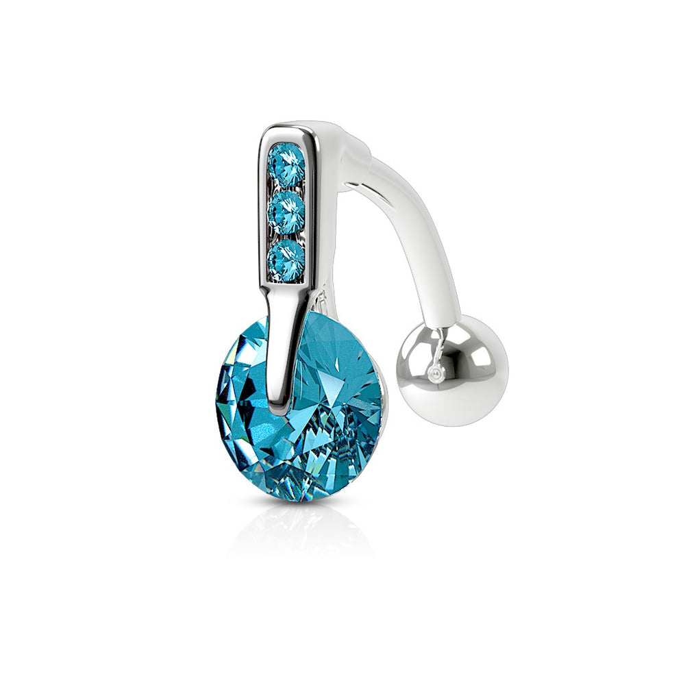 Aqua Reverse Gem Sphere Belly Ring