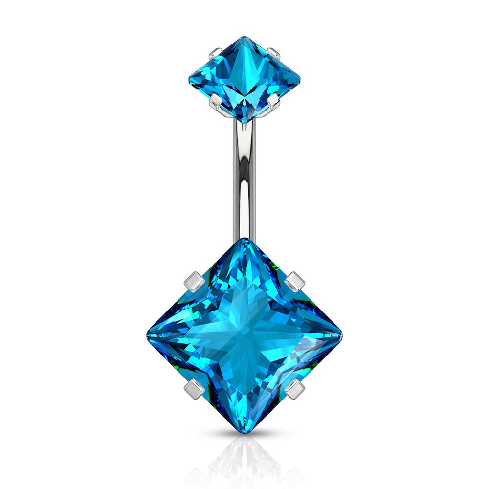 Aqua CZ Prong Set Internally Threaded Belly Ring