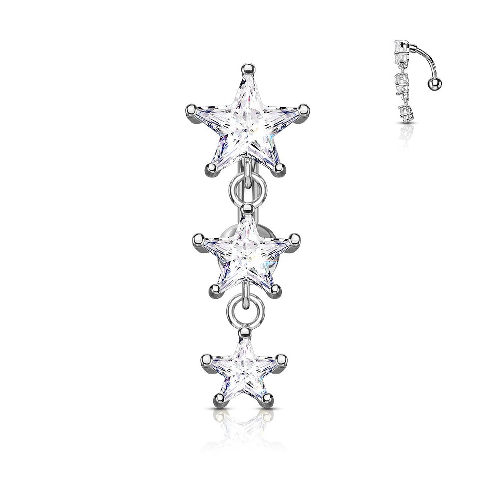 Triple Star Vertical Drop Belly Ring