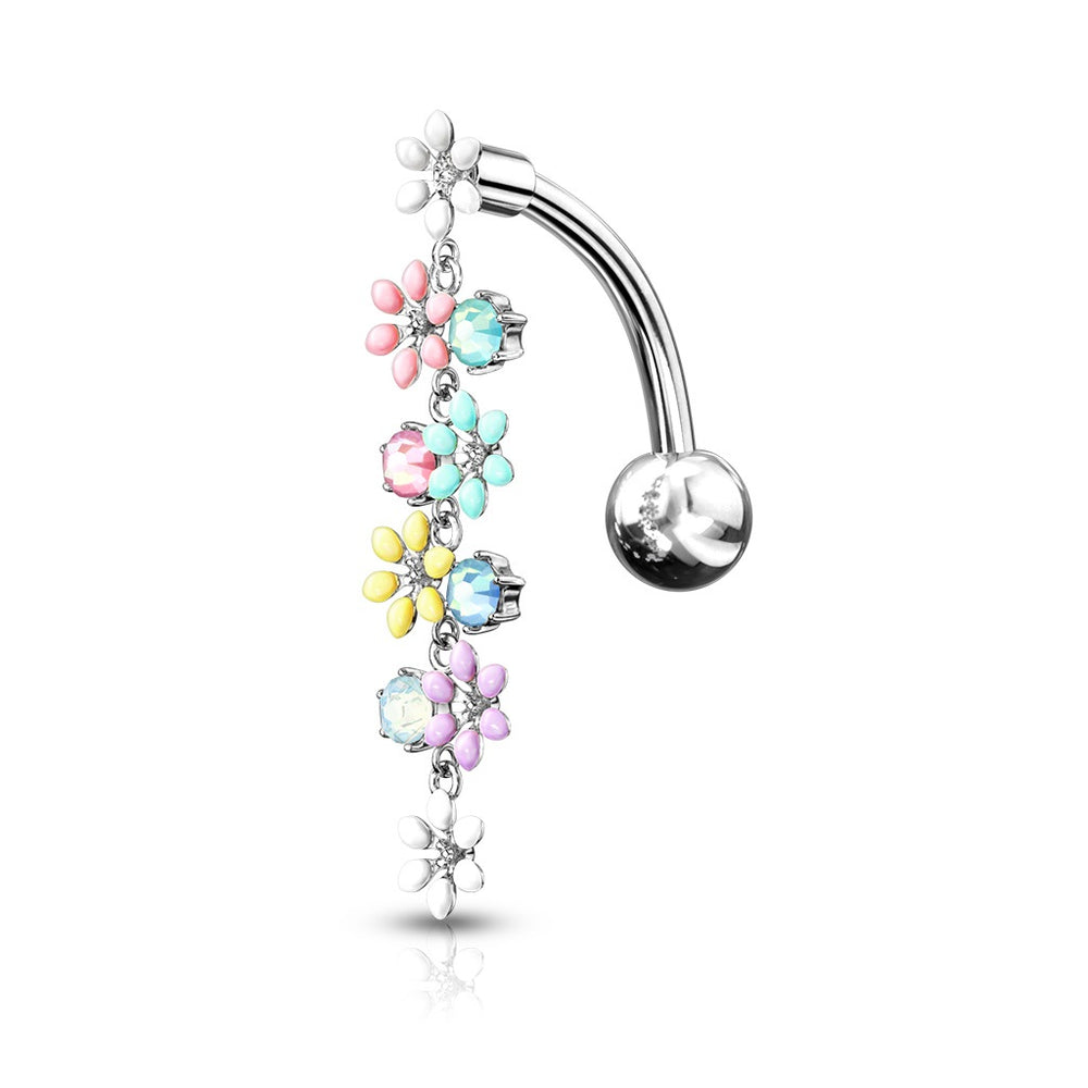 Top Drop Crystals and Flowers Belly Ring