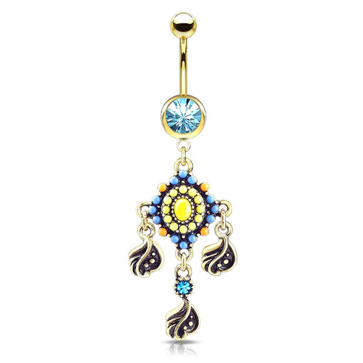 Tribal Bead Crystal Belly Ring Gold