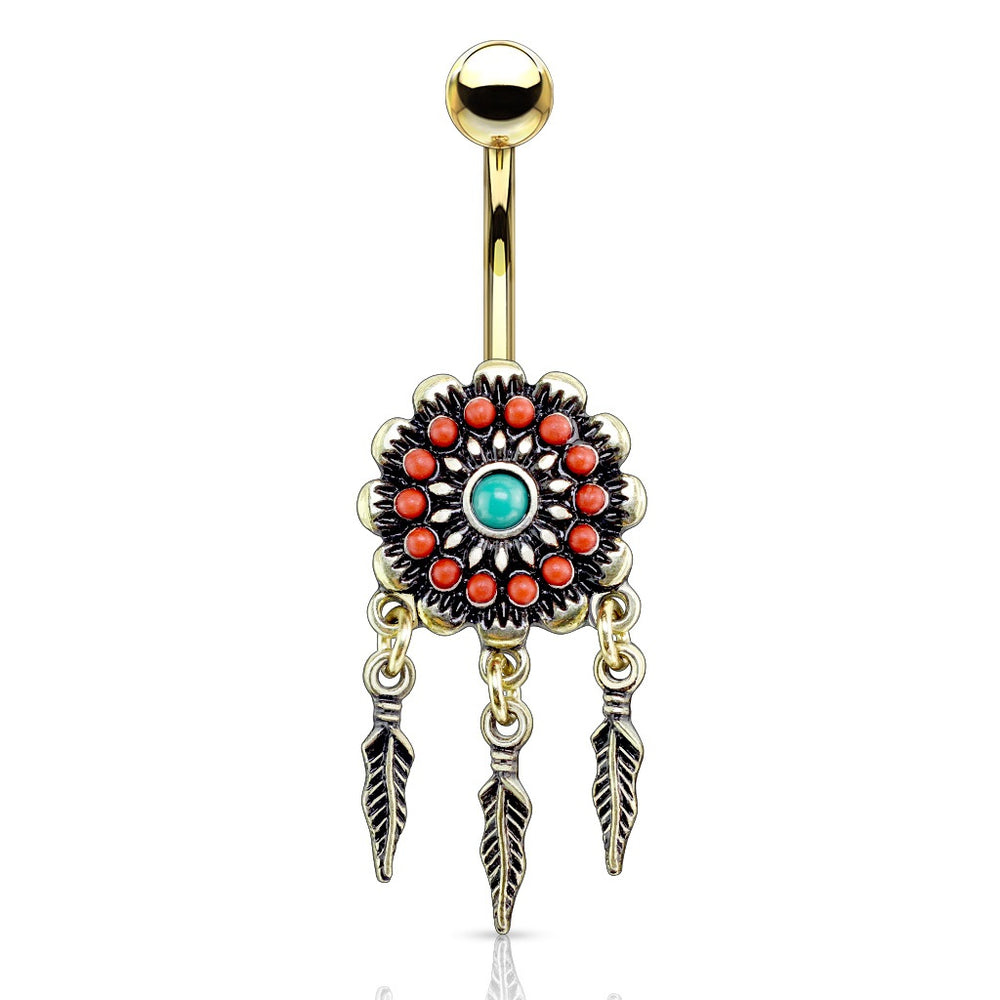 Golden Tribal Flower with Feathers Belly Ring