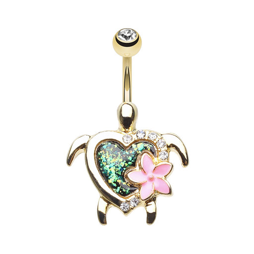 Golden Kauai Flower Turtle Belly Ring