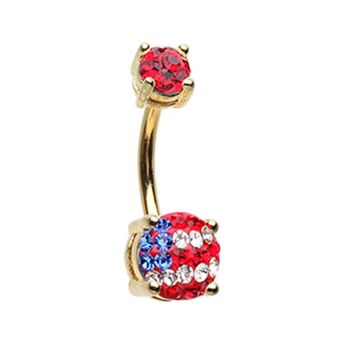 Golden American Flag Belly Ring