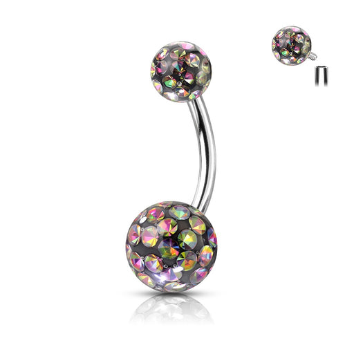 Crystal Paved Balls Belly Rings