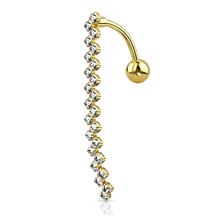 Zig Zag Line Top Drop Belly Ring - Gold Plated