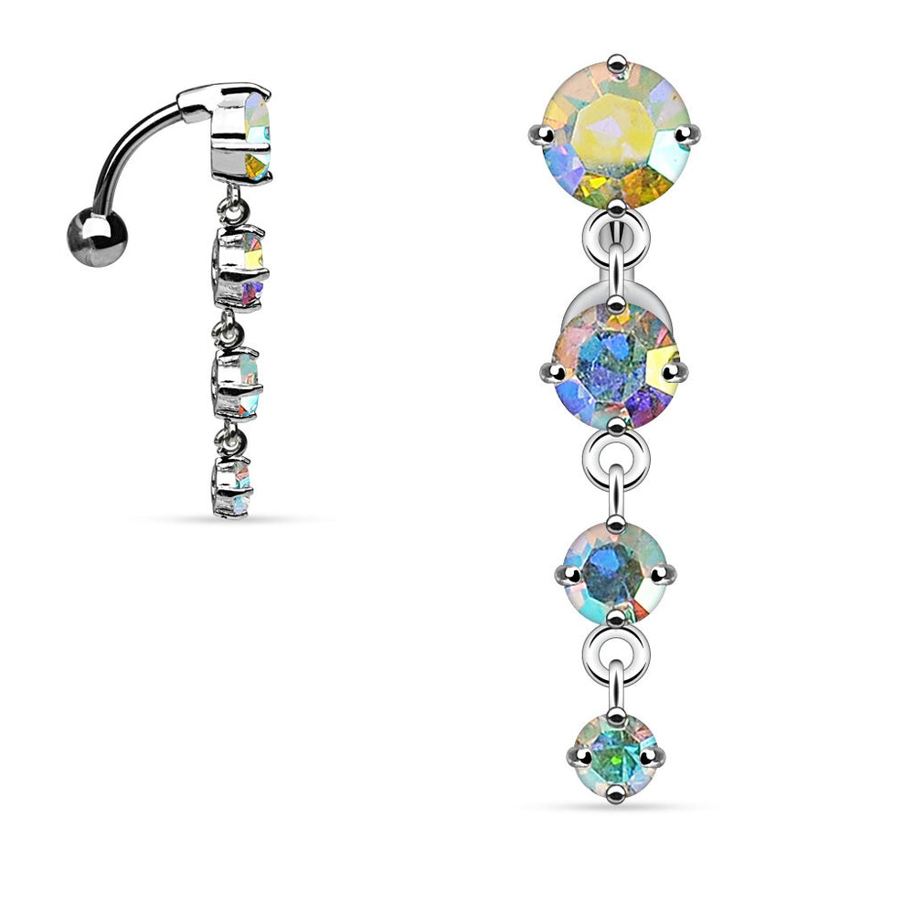 Iridescent Top Drop CZ Belly Ring
