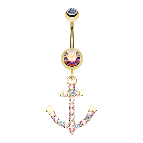 Iridescent Anchor Belly Ring