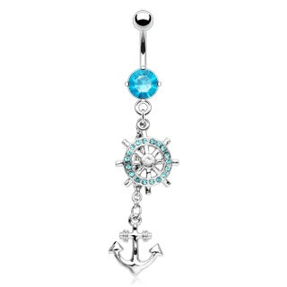 Dangling Aqua Crystal Anchor Belly Ring